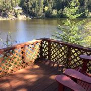 Pender Weekender lower lake deck and view